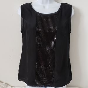 Merona Blouse Sleeveless Sequin Front Sheer Top